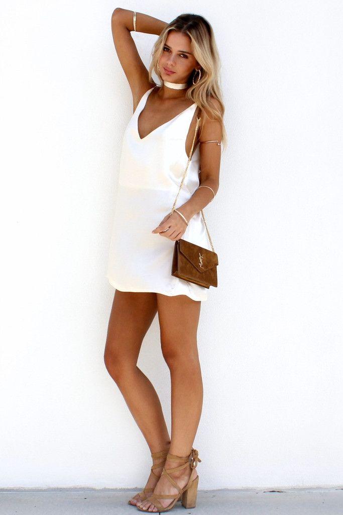 Ivory white 90s style satin silk slip with choker mini dress   tan ...