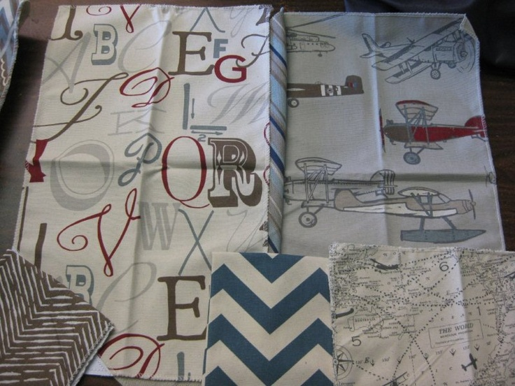 Alphabets and Vintage Airplane fabrics with map print and chevron