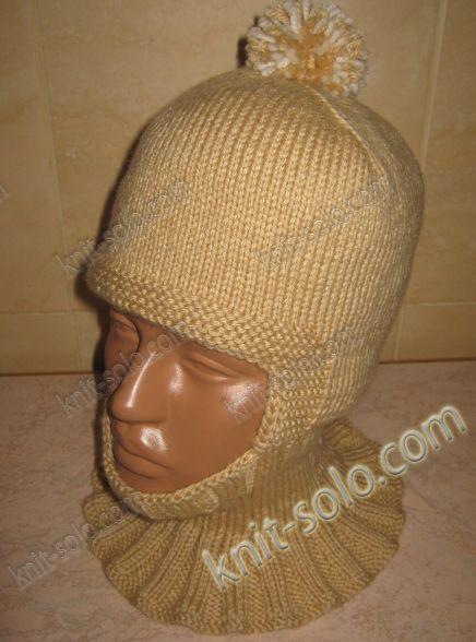 шапка-шлем спицами для ребенка 3-4-х лет