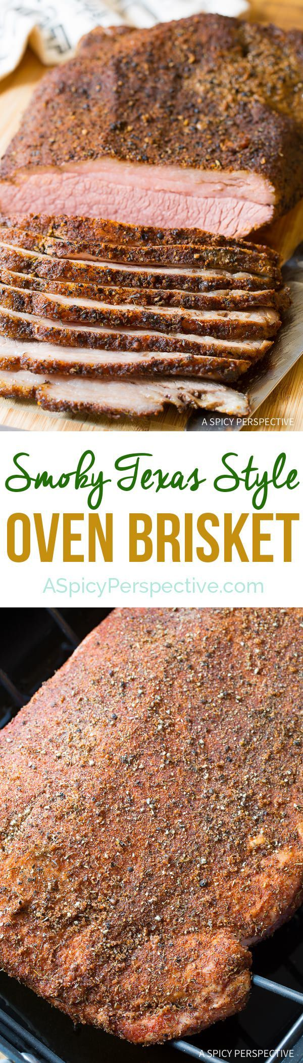 Easy Smoky Texas Style Oven Brisket Recipe on ASpicyPerspective.com - No Smoker Required! via @spicyperspectiv