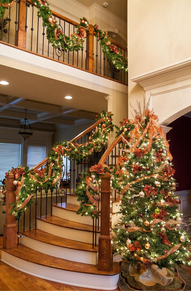 Decorating banisters for christmas with ribbon - Christmas Tree Ideas