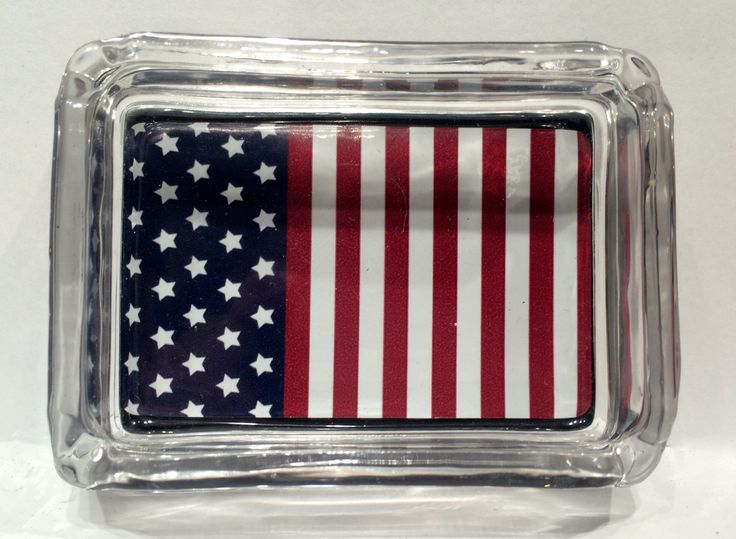 American Flag Stars and Stripes USA Square Designer Glass Ashtray Smokers Gift by Swagstr on Etsy