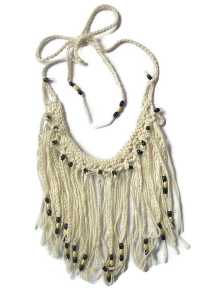Fringe Necklace Choker Tassel Hippie Festival Crochet Knitted Cream Beaded by thekittensmittensuk on Etsy