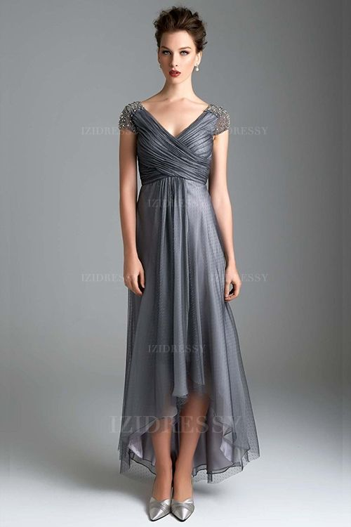 A-Line/Princess V-neck High Low Hem Ankle-length Tulle Mother of the Bride Dress