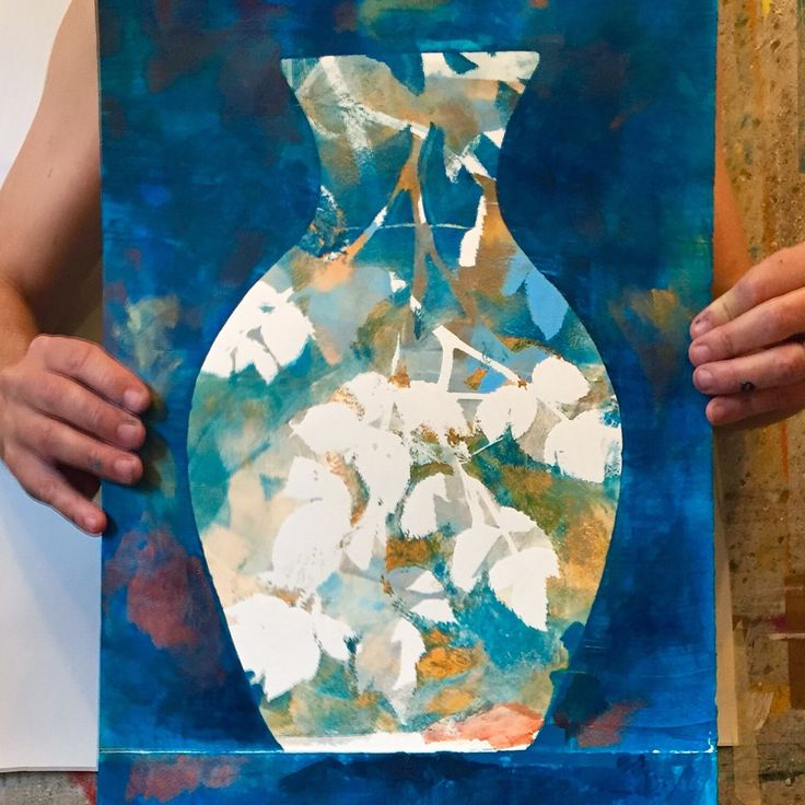 """Flower pot"" monoprint | acryl | 2016 | 08 | 16 Mikael Liljander"