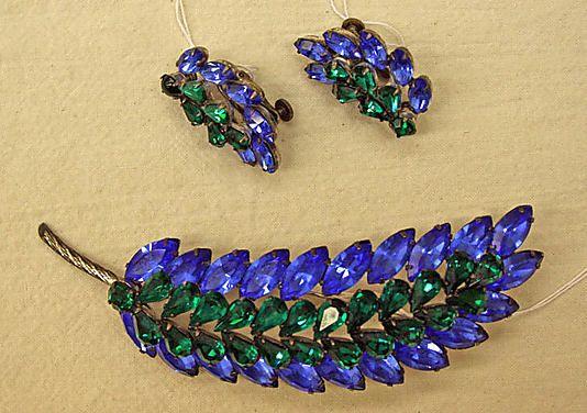 "Jewelry set / Vendôme & Coro  (American)  / Date: late 1950s Culture: American Medium: glass, metal / Inscription: [imprint] (a–c) ""Vendôme"""