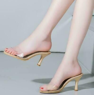 Womens Slip On Clear Slides Mules Stilettos High Heels Sandals Party Shoes New