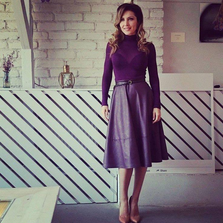Carmen Bruma , wearing an organic leather skirt from #lurestore . #CarmenBruma #leatherskirt #fallwinter2015 #loveburgundy