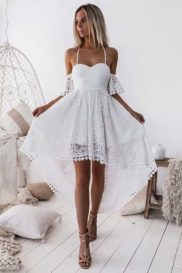 Great Prom Dress Short, White Homecoming Dress, Homecoming Dress Cheap, Lace Prom Dres…