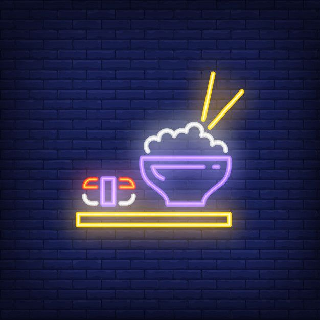 Download Japanese Dishes With Sushi And Rice Neon Sign For Free Neon Signs Neon Neon Wallpaper