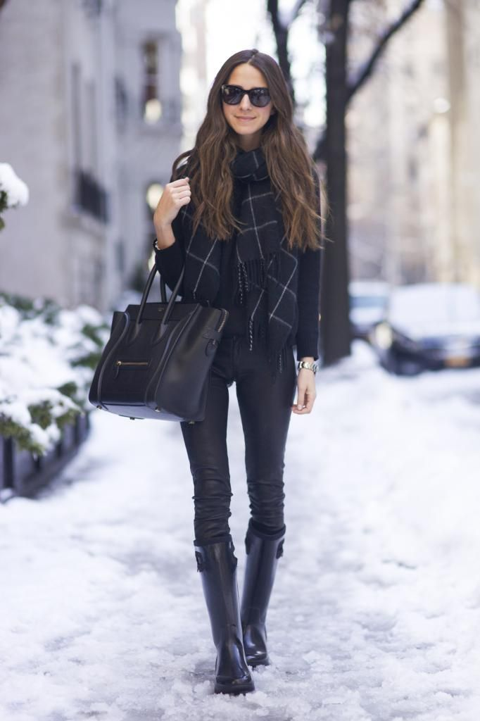 Boots: BOGS | Pants: Rag & Bone | Sweater: Inhabit | Scarf: Nasty Gal | Bag: Celine | Sunnies: Anine Bing