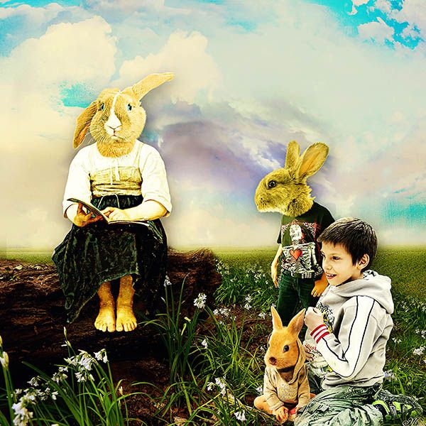 Bunny sitting in the grass by Krysty Scrap Designs