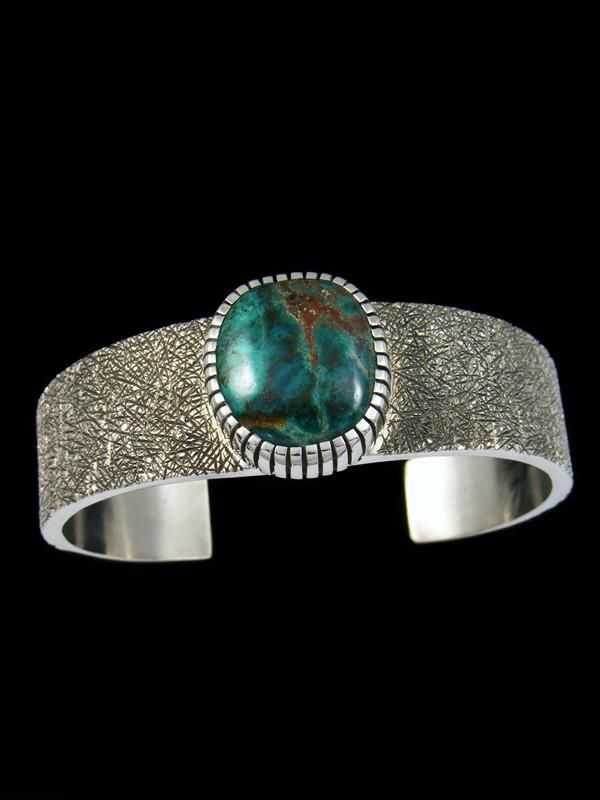 Native American Turquoise Sterling Silver Ingot Bracelet