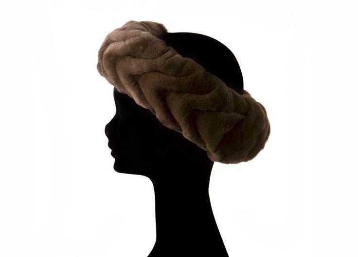 Fascia testa goffrata  visone rasato marrone  misura unica