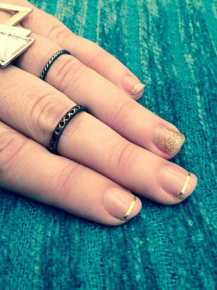 Nude & gold mani! #NudeNails #gold #glitter #Sedona #GoodFortune #goldstripes #mani #nailswag #PolishPro