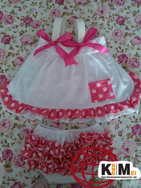Комплект / lot хлопок шеврон гофрирование качающиеся задняя часть верхний комплект для маленькой девочки принцесса ткань комплект милый бутик одежда