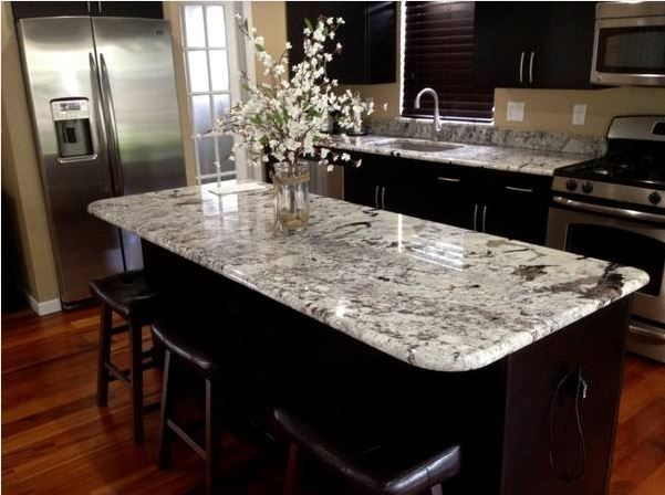 kitchen black cabinets white granite counter tops - Granite Counter