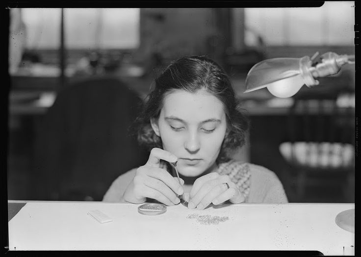 women working at the Hamilton Watch Company in Lancaster Pennsylvania by Lewis Hine, 1936