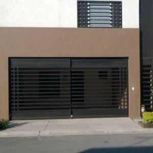 Puerta de cochera sencilla con barrotes horizontales - Puertas automaticas para cocheras ...