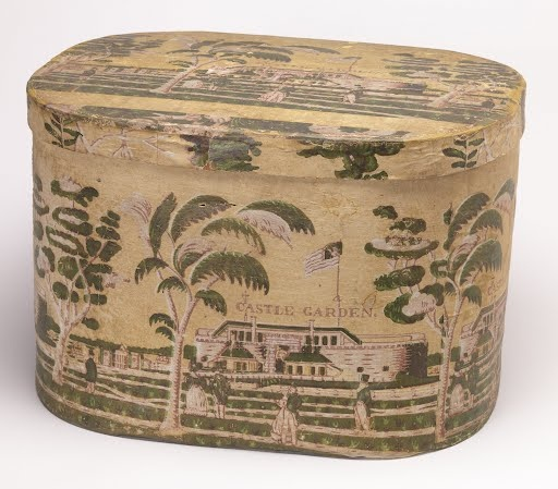 Castle Garden....paper covered old hat box...love