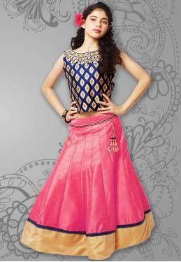 Kapadewala Pink Silk Designer Party Wear Lehenga Choli For Girls (8-12 Years)