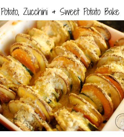 Potato, Zucchini and Sweet Potato Bake Ingredients 2 cloves minced garlic 1 small onion, chopped 1 potato 1 zucchini 1 sweet potato olive oil ½ cup of parmesan cheese (or more) salt and pepper - S\