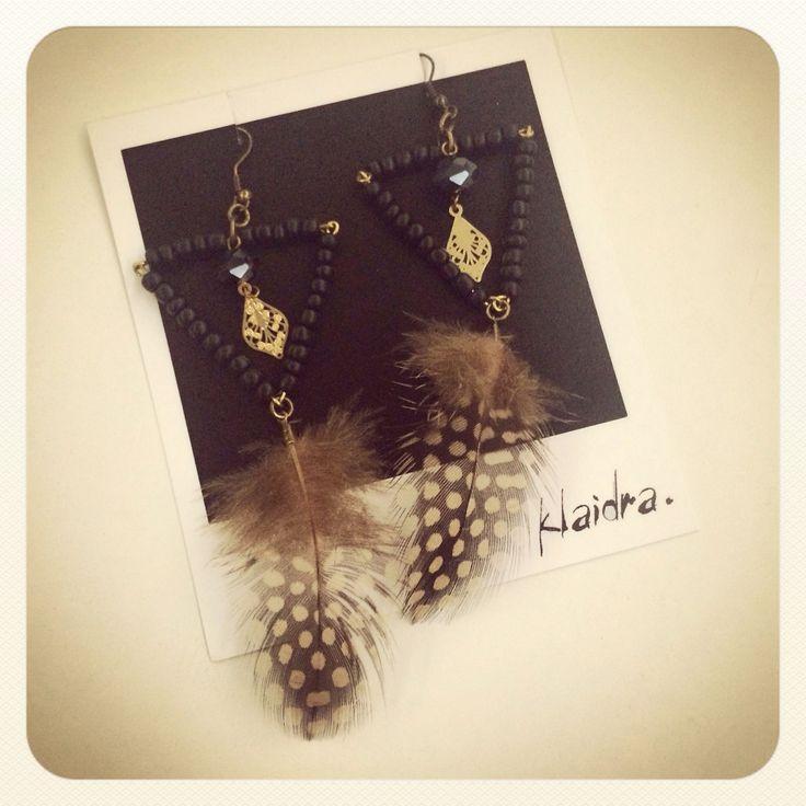 Klaidra *triangle* feather earrings✨ #klaidra #designers #earrings #feathers #bohemian #ethnic #gypsy #sparkle #christmas #fw15 #triangle #beaded #greekdesigners #handmade #jewelry #klaidrajewelry