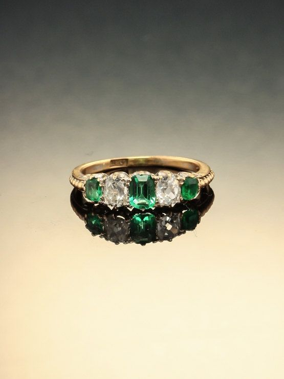 Genuine Victorian natural emerald and by AntiqueVelvetGloves