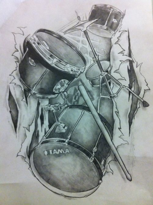 Drumsticks and drums tattoo                                                                                                                                                      More