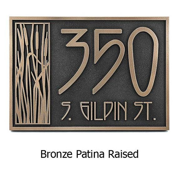 Cattail Craftsman House Numbers 18x8.5 inches Up to 5 Address Numbers for your Bungalow by Atlas Signs and Plaques on Etsy, $245.00