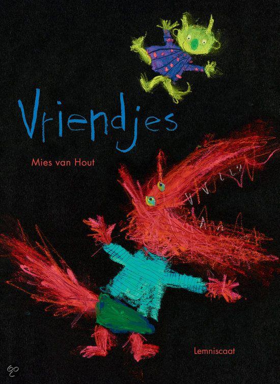 Mies van Hout - Vriendjes || Lemniscaat 2012, 32 pagina's || Een van de illustraties staat op mijn Lemniscaatkalender. Aanstekelijk lachen! || De kleurrijke monsters in dit boek zijn echte vriendjes. Daarom spelen ze met elkaar, maar ze klieren, vechten en huilen ook wel eens. Dan hopen ze dat het snel weer goed komt. Uiteindelijk kunnen ze er samen vrolijk om lachen. || http://www.bol.com/nl/p/vriendjes/9200000002307449/