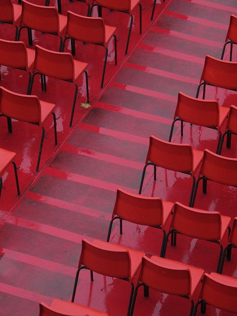 red wet seats by ewjz31, via Flickr  | #red #chairs