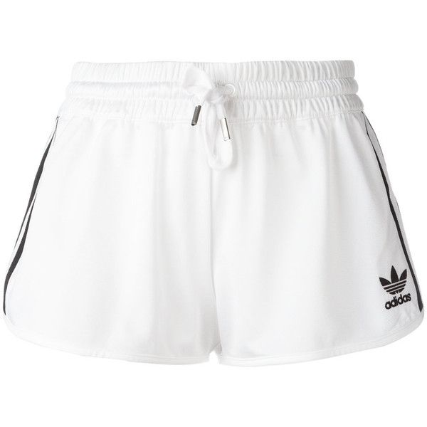 Adidas Originals classic logo track shorts ($33) ❤ liked on Polyvore featuring activewear, activewear shorts, white, adidas originals and logo sportswear