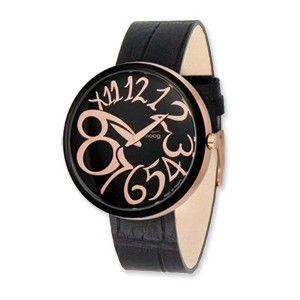 Moog Rose/Black Plated Round Black Dial Watch w/(MC-01RG) Black Band - SalmaWatches.com $209.95