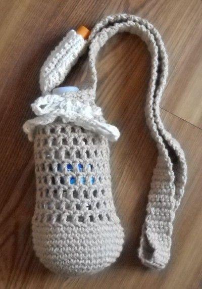 #crochet water bottle holder free pattern from MarilynKnits