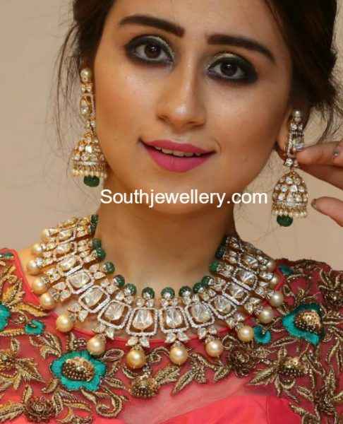 Polki Diamond Choker and Jhumkas Set photo