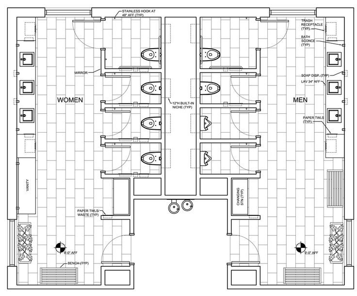 school bathrooms architecture dimensions