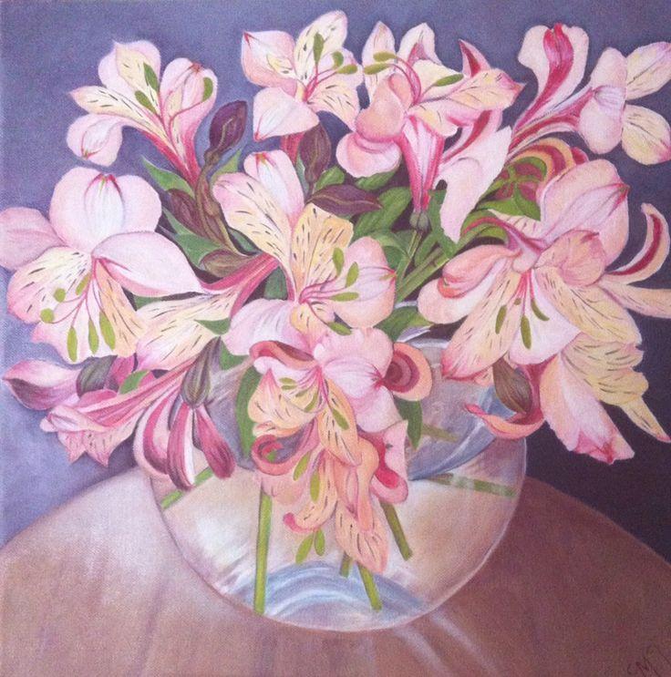 Alstroemerias. Oil on canvas. 18x18cm