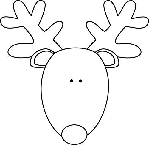 reindeer-head-black-white.png 500×488 pixels