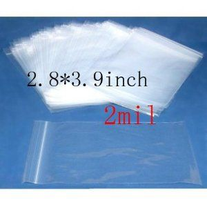 2mil thickness zipper sealed ziplock bags 2.8*3.9 inch 500