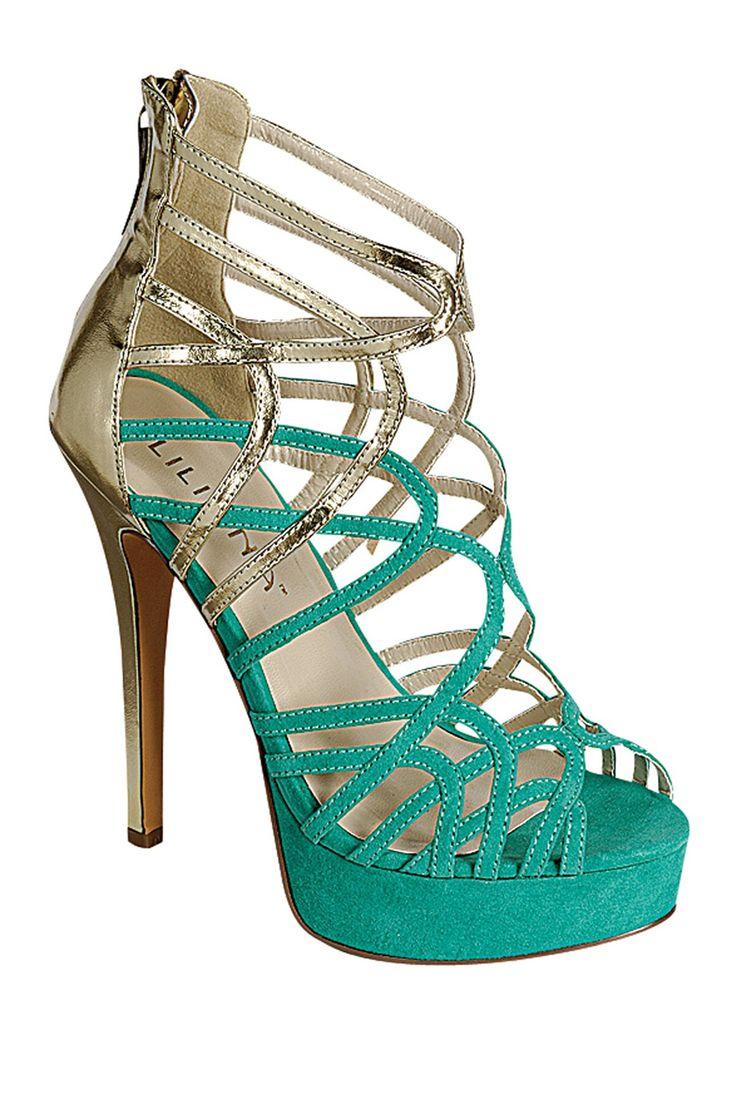 Blue and Gold platform heel