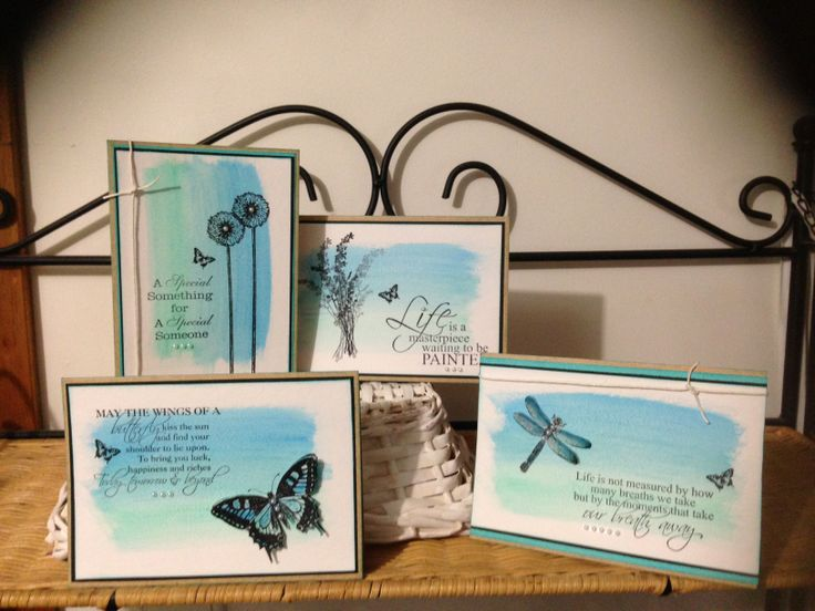Set of four cards created using the gorgeous New Kaszazz Watercolour Pencils. www.cheryldevlin.com