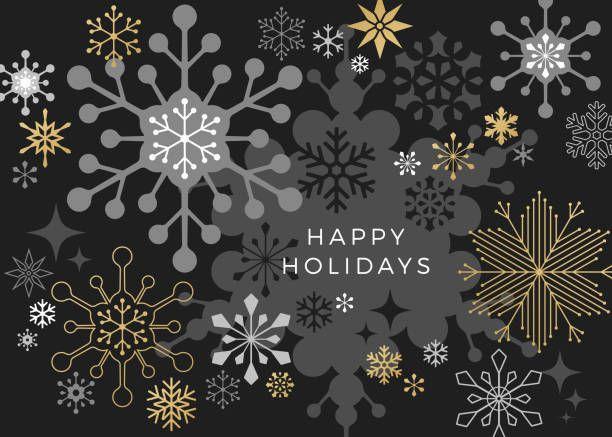 Bold Graphic Snowflakes On Black Dark Gray Background Christmas