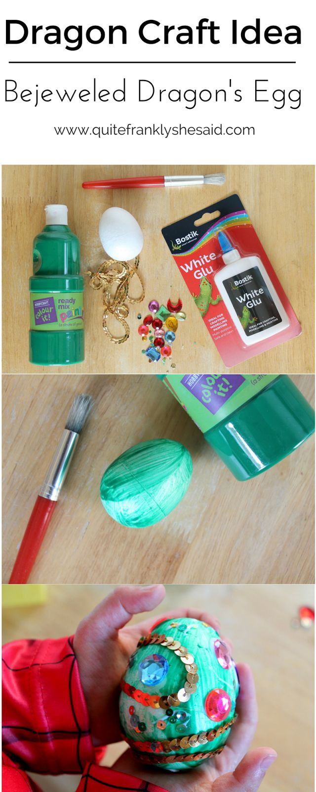 Dragon Craft Idea: Bejeweled Dragon's Egg tutorial for toddlers, preschoolers