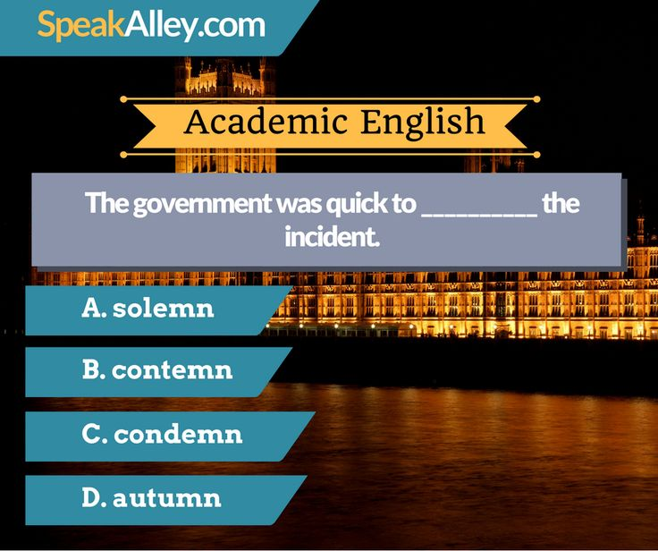 #Academic #English #Quiz #Vocabulary  Hello IELTS, TOEFL and other English test takers. Here is your quiz for today. Find the answer at http://lnk.al/36Oz  #TOEFL #IELTS #GRE #Speaking #SpeakAlley