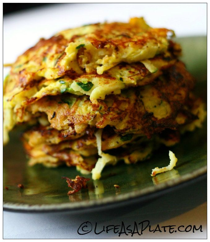 Paleo Zucchini Jicama Latkes - making these ASAP!  2 c. zucchini, shredded and water squeezed out 2 c. jicama, peeled, shredded, and water squeezed out 1/2 c. onion, pureed or finely shredded 2 tbsp. garlic, finely minced 2 eggs, beaten 1/4 c. Parmesan/Romano blend 1/2 tsp. salt coconut oil for cooking