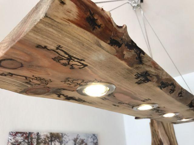 Details Zu Led Decken Holz Lampe Rustikal 120cm 4x 7w Massivholz