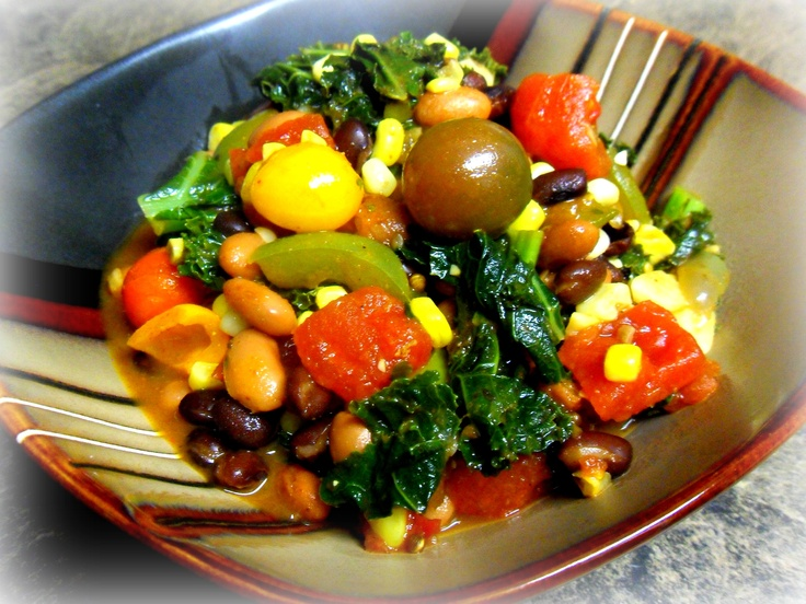 Heirloom cherry tomatoes, swiss chard, black beans, cranberry beans and corn.: Heirloom Cherries, Gluten Free Clean, Black Beans, Free Clean Eating, Cranberries Beans, Cherry Tomatoes, Swiss Chard, Cherries Tomatoes, Mr. Beans