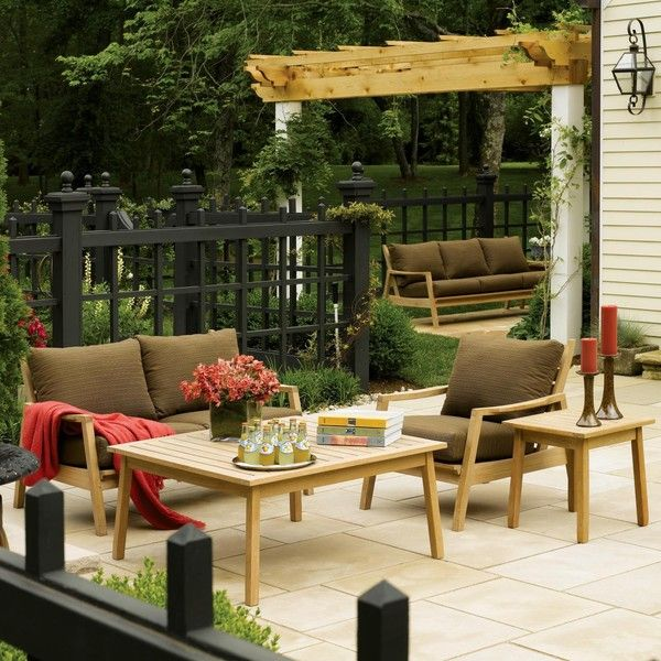 Oxford Garden Siena Shorea Wood 5 Piece Chat Set   The Oxford Garden Siena  Shorea Wood 5 Piece Chat Set Can Transform Any Outdoor Space Into A Posh  Spot ...