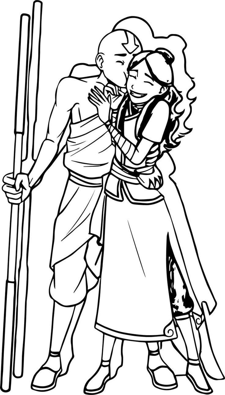 Aang And Katara Fro Cho Avatar Coloring Page Aang